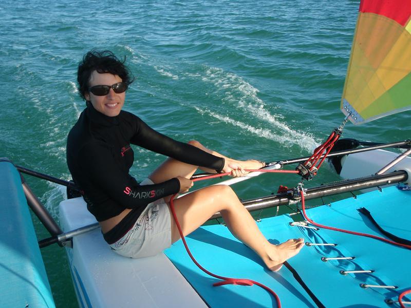 meine 3. Segelstunde: Catamaran segeln :-)